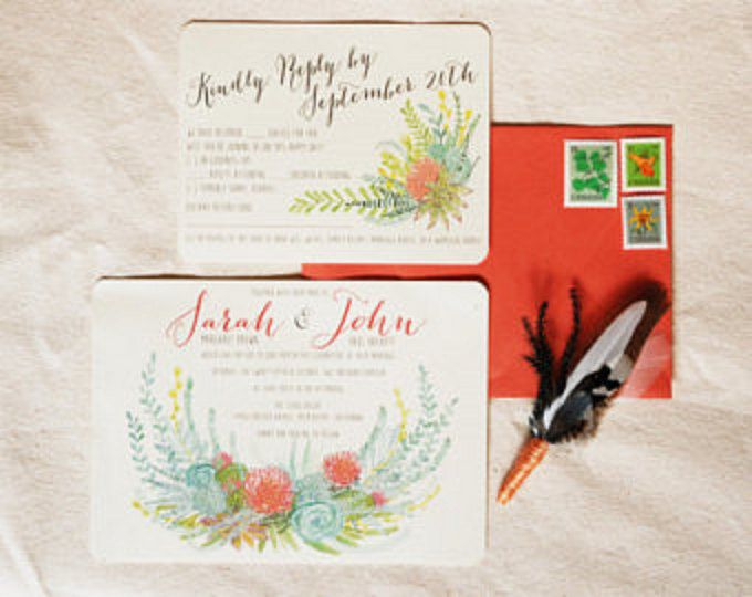 A hand drawn watercoloured custom floral invitation suite to beautifully embellish your special day!  I would love to work with you to create the perfect design to suit your wedding, shower, or party stationery. How it works: An order for a custom invitation ($225), crest, or save the date, must be placed first, or simultaneously with the other components - you can also purchase the other components (like a reply card, save the date, etc) at a later point if you have an existing order for an…