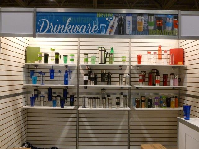 Drinkware section at the Toronto trade show