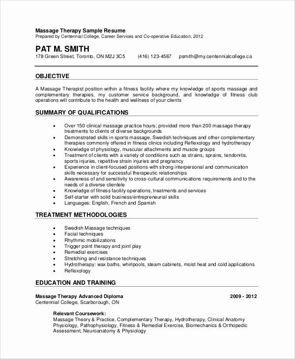 Entry Level Counselor Resume Awesome Sample Massage