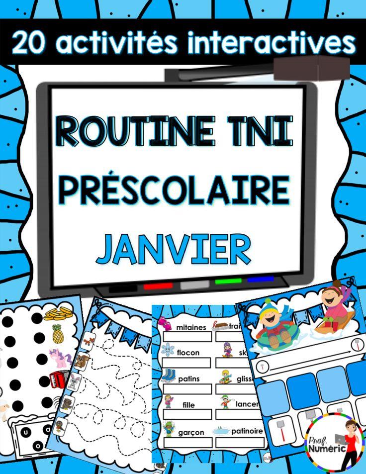 TNI – Routine TNI c'est 20 pages interactives colorées et auto-correctives pour les élèves du préscolaire. Utilisez à tous les jours du mois de janvier afin de pratiquer l'alphabet, l'ordre des nombres, les séquences d'images, etc.