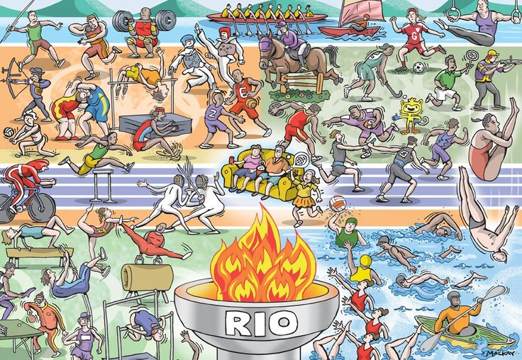 Illustration by Graeme MacKay - 2016 Summer Olympic Games - illustration used for the cover of a special section devoted to the sporting event held in Rio de Janeiro, Brazil. The process involved drawing and colouring the individual characters. Next was determining how they would best fit into a space roughly measuring 8.25 x 10.5 inches. (See Olympic-cover2). The background was chosen to be divided 5 ways: water, athletic indoor, athletic outdoor, track, and gymnastics.) Estimated…