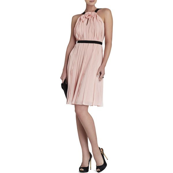 BCBGMAXAZRIA Bianca Sleeveless Ruffle Dress (53.350 HUF) found on Polyvore featuring women's fashion, dresses, soft petal, pink halter dress, pleated dresses, pink dress, floral a line dress and floral print dress