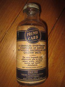 Vintage 1940s Bottle PREMO CARB Pharmaceutical Medicine granular effervescent ad  #kookykitsch.com
