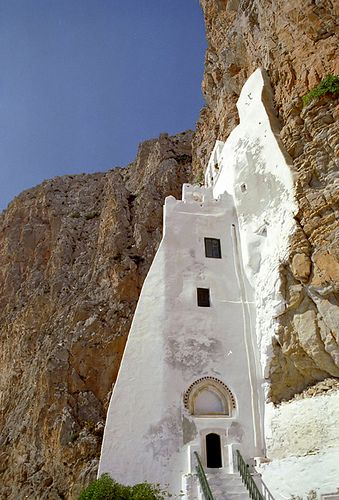 Amorgos | Flickr - Photo Sharing! monastery of the Virgin from Hozovo (Panagia i Hozoviotisa). Getting there is an all day hike along the spine of the island.