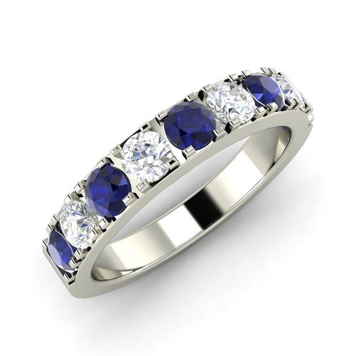 sapphire wedding anniversary invitations%0A      Ct Natural Blue Sapphire and Diamond   k White Gold Anniversary Band    Ring  Diamondere