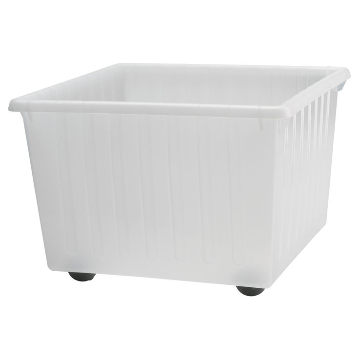 IKEA - VESSLA, Storage crate with casters, white, , Casters included.The top edge serves as a handle, which makes the storage crate easy to lift and carry.Stackable.  Saves space when not in use.