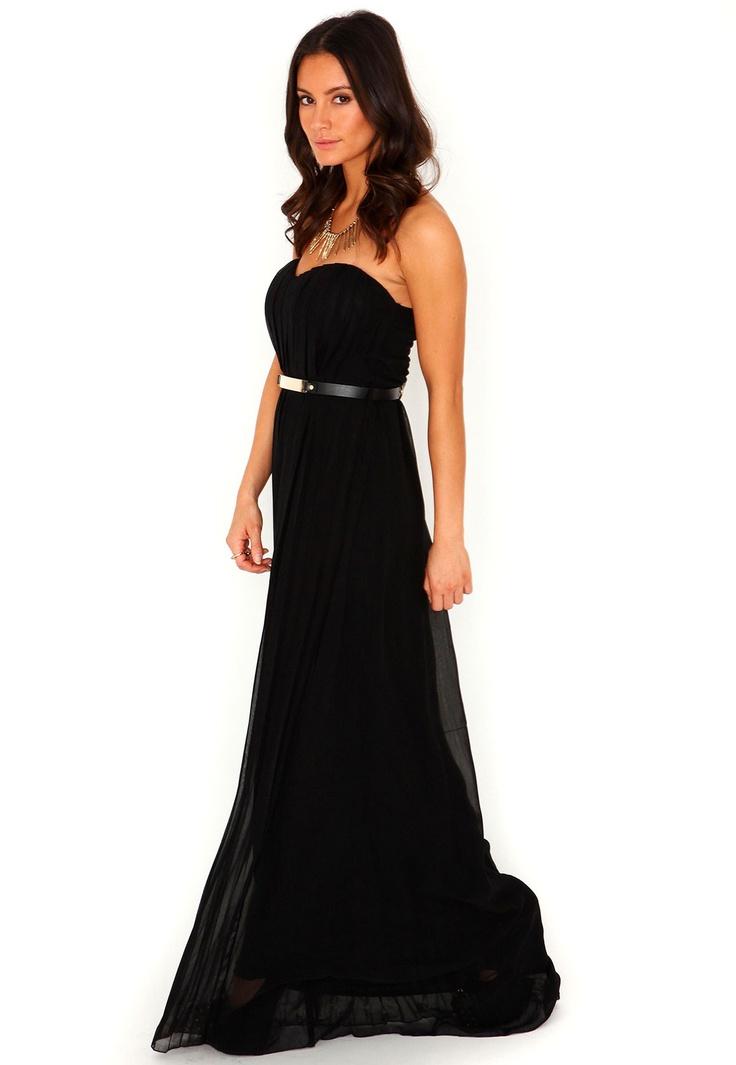 Abelone Bandeau Pleated Maxi Dress In Black @ missguided.eu