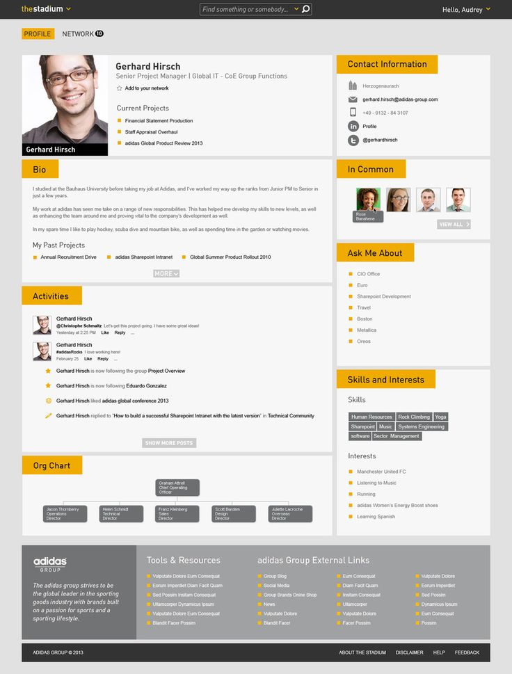 Adidas Intranet staff profile pages
