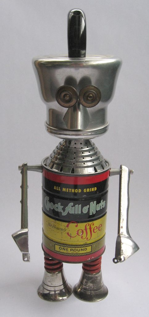 https://flic.kr/p/6xpEBj | Chocky | Robot sculpture assembled from found objects by Brian Marshall - Wilmington, DE. Items included in my sculptures vary from vintage household kitchen items to recycled industrial scrap. Some of my favorite items to use are old oil cans, aluminum measuring spoons, electrical meters, retro blenders, anodized cups, and pencil sharpeners.