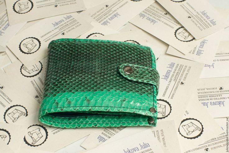 Купить Кошелек из натуральной кожи змеи - зеленый, зеленый кошелек, кошелек, кошелек из кожи