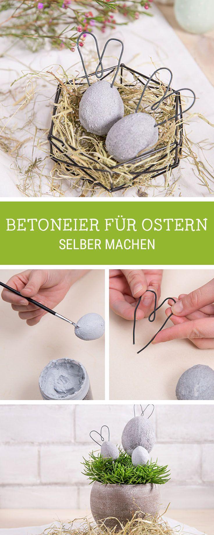 DIY-Anleitung für Ostereier aus Beton mit Hasenohren, Osterdeko selbermachen / craft Easter decoration: concrete Easter eggs with bunny ears via DaWanda.com