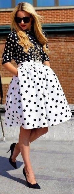 #popular #street #style #outfits #spring #2016 | Polka Dot Game Outfit |  Atlantic-Pacific                                                                             Source