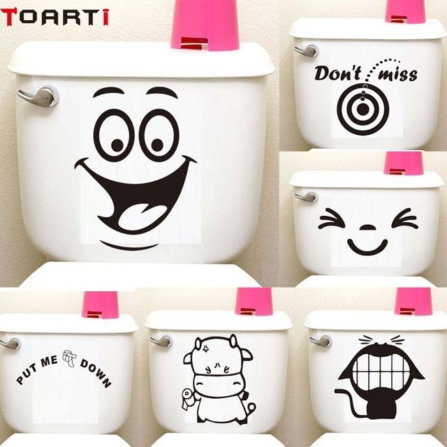 Big Smile Face Cartoon Toilet Seat Sticker Diy Wall Stickers Home
