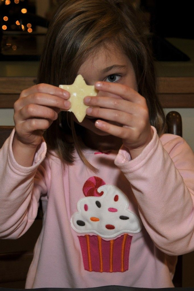 Annika making a star-shaped Scotch Shortbread Cookie