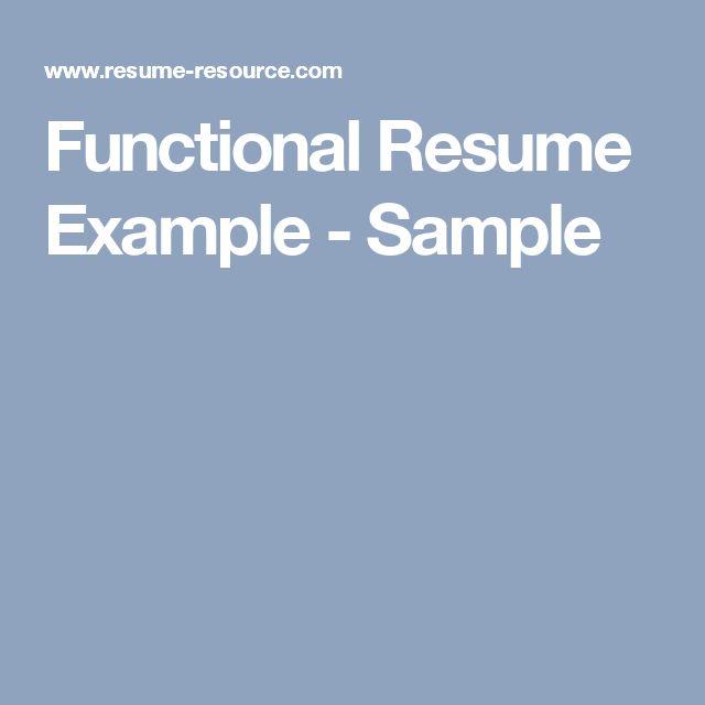 Functional Resume Example - Sample