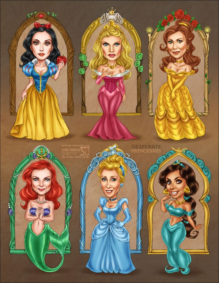 Desperate Princesses / Desperate Housewives as Golden Team of Disney's Princesses! / Susan Mayer as Snow White, Edie Britt as Sleeping Beauty (now she really is...), Katherine Mayfair as Belle, Bree Van De Kamp as Ariel,  Lynette Scavo as Cinderella, Gabrielle Solis as Jasmine