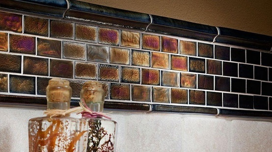 This gorgeous recycled glass tile has a irrescent shimmer. Would make a beautiful mirror frame! #DIHWorkshop