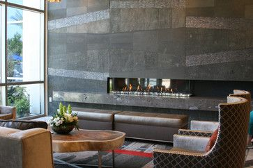 contemporary ribbon fireplace beautiful granite tile