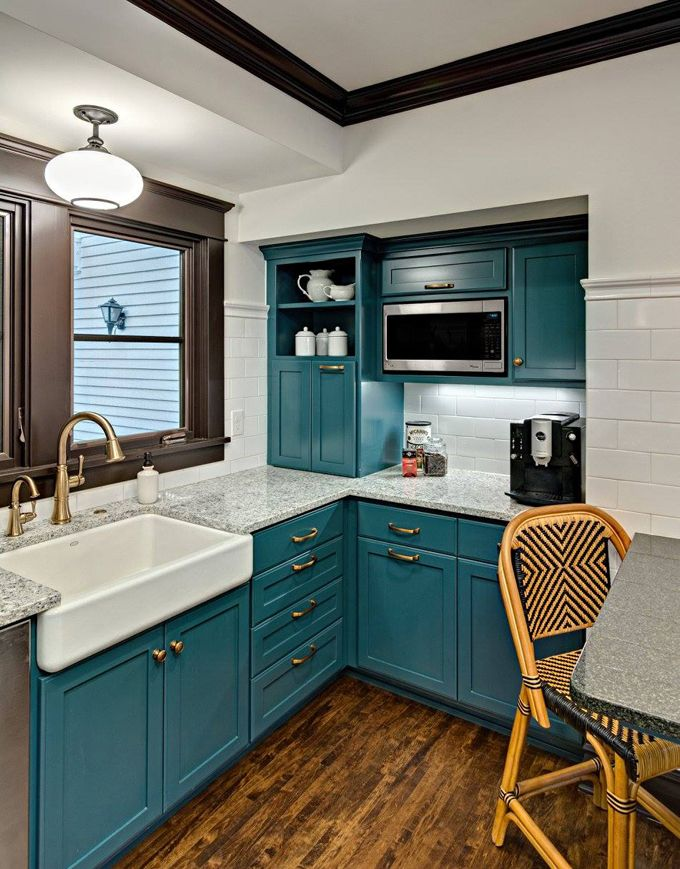 Kathryn johnson interiors house of turquoise minnesota for Teal kitchen cabinets