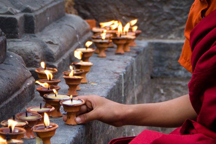 Kathmandu, Nepal 2011: Nepal 2011, Nepal Image, Buddhists Monk, Butter Lamps, Nepal Wher, Swayambhunath Temples, Candles Lit, Butter Lights, Kathmandu Nepal