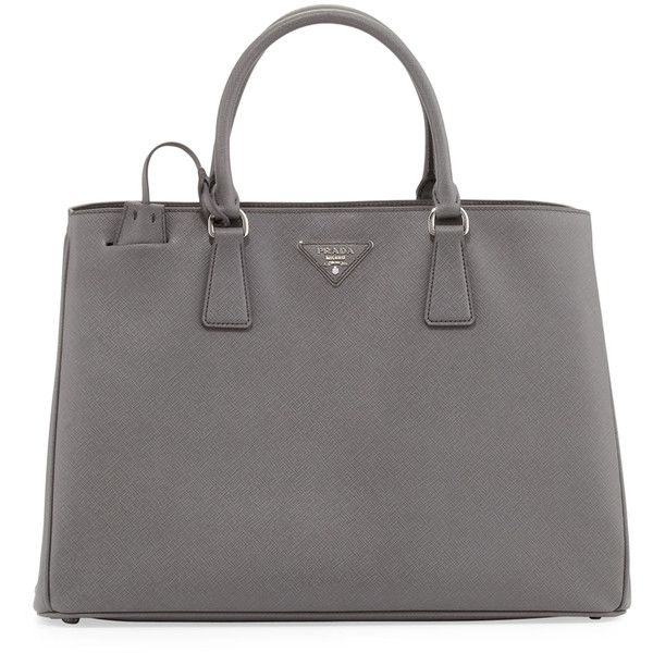 Prada Saffiano Gardener's Tote Bag (7,165 PEN) ❤ liked on Polyvore featuring bags, handbags, tote bags, purses, borse, sac, grey, leather key ring, gray leather handbag and leather tote bags