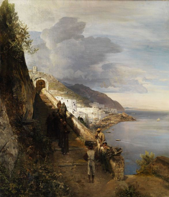 Oswald Achenbach - 1883 The Amalfi Coast with Stairs to the Capuchin Monastery