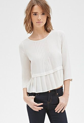 Pintucked Pleat-Hem Blouse | Forever 21 - 2000118215