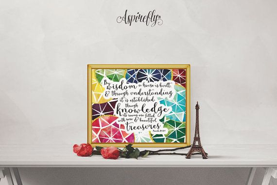 Bible Verse Scripture Printable Proverbs 24 3 4 - By Wisdom A House Is Built…