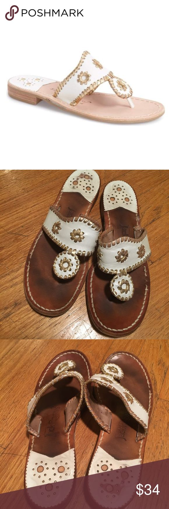 White and Gold Nantucket Jack Roger Sandals Good condition. Please note the wear. Make an offer! Jack Rogers Shoes Sandals
