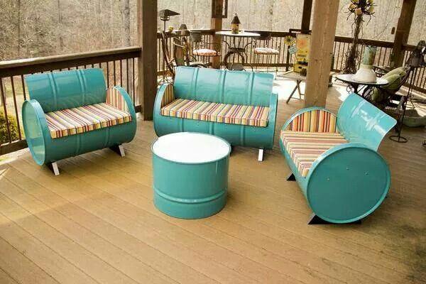 Old oil barrels turned into nice little outdoor furniture