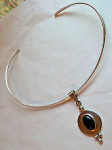 QVC Taxco Traditions Silver Collar Necklace & Onyx Cabochon Pendant Set Choker  | eBay