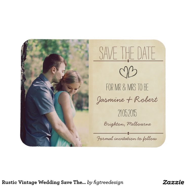 cruise wedding save the date announcement%0A Rustic Vintage Wedding Save The Date Invitation Announcement Magnet