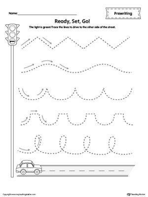 car racing line tracing prewriting worksheet tracing worksheetskindergarten - Printing Worksheets Kindergarten