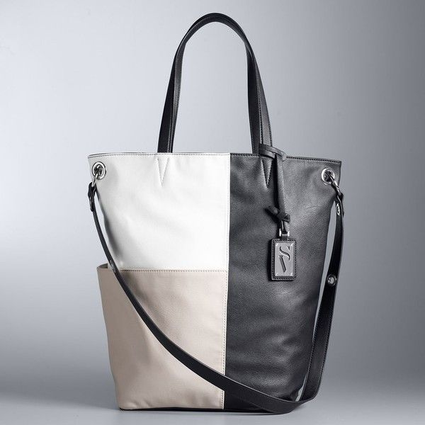 Simply Vera Vera Wang Oakland Tote ($69) ❤ liked on Polyvore featuring bags, handbags, tote bags, med brown, faux leather tote, tote purses, faux leather tote bag, vegan handbags and brown tote