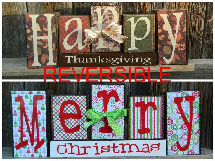 REVERSIBLE Weihnachten und Thanksgiving Holzblöcke – Happy Thanksgivings kehrt …   – New house