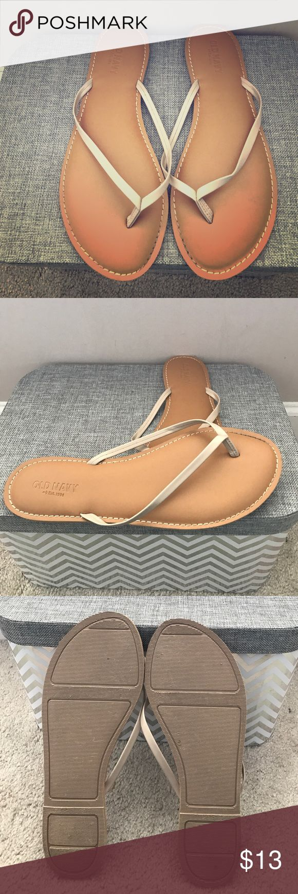 Old Navy Flip-Flops Worn once size 10 with taupe cream color straps Old Navy Shoes Sandals