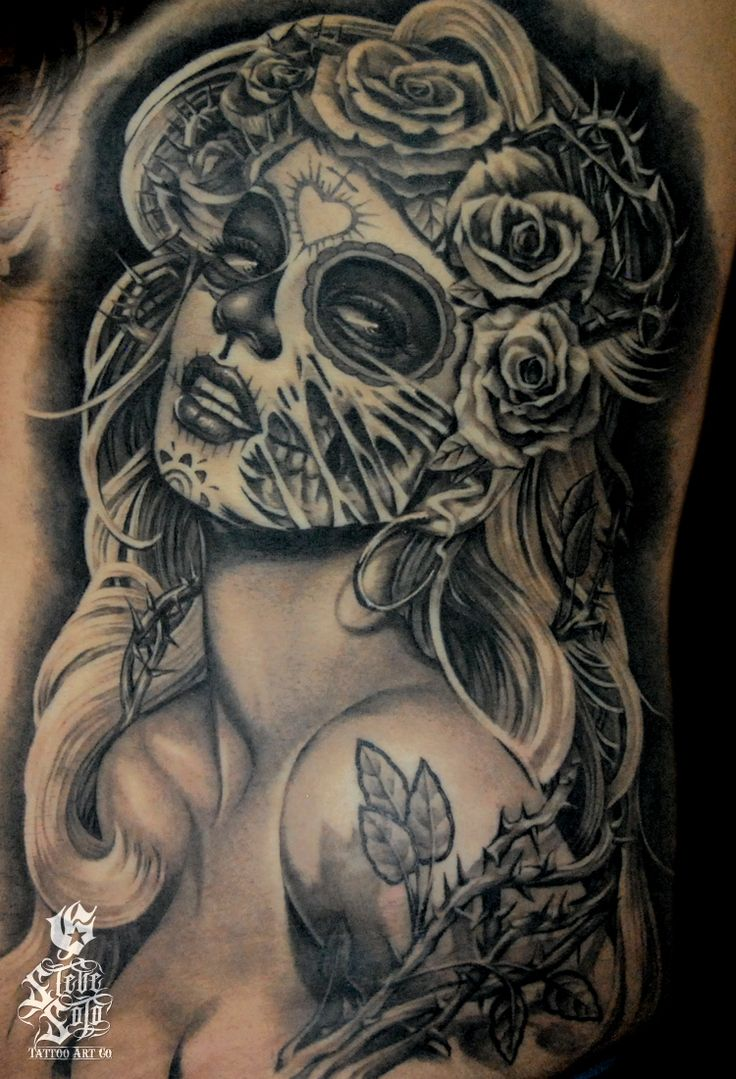 Day of the Dead Pin Up Tattoo - Steve Soto http://pinupgirlstattoos.com/day-of-the-dead-pin-up-tattoo/