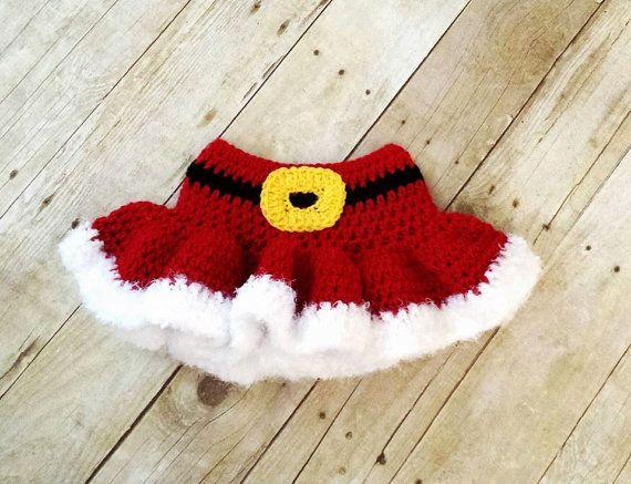 Crochet Baby Christmas Mrs. Santa Clause Skirt