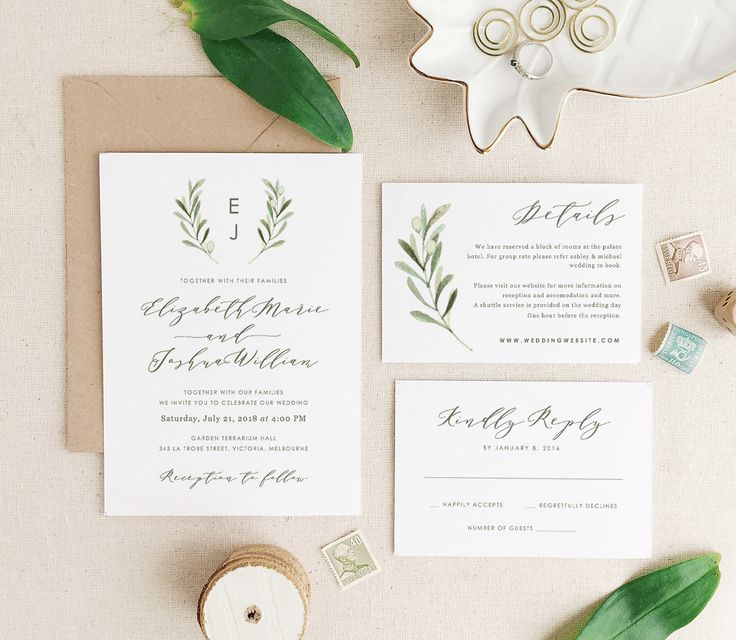 Greenery Wedding Invitation Template, Printable Wedding Invitation Suite, Olive Wedding, Calligraphy | Edit in Word or Pages by PaperDainty on Etsy https://www.etsy.com/listing/505222460/greenery-wedding-invitation-template
