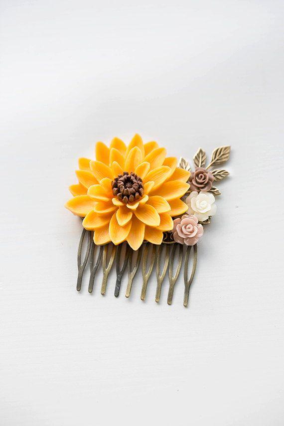 Large Sunflower Hair Comb Orange Yellow Chrysanthemum Taupe