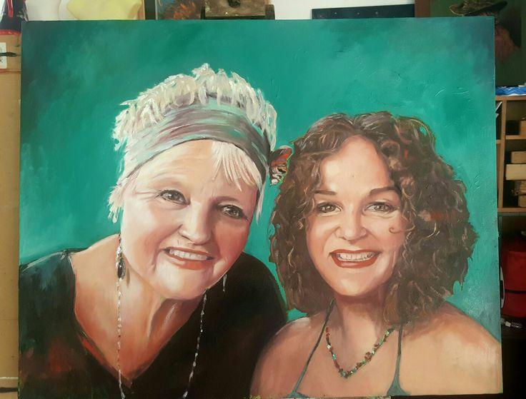 Mumma and me...oil portrait painting