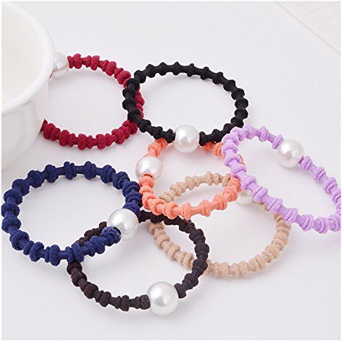 Casualfashion 10Pcs Fashion Women Girls Rubber Band Hair Ring Rope Ties with Pearls Ponytail Holder >>> Check this awesome product by going to the link at the image.