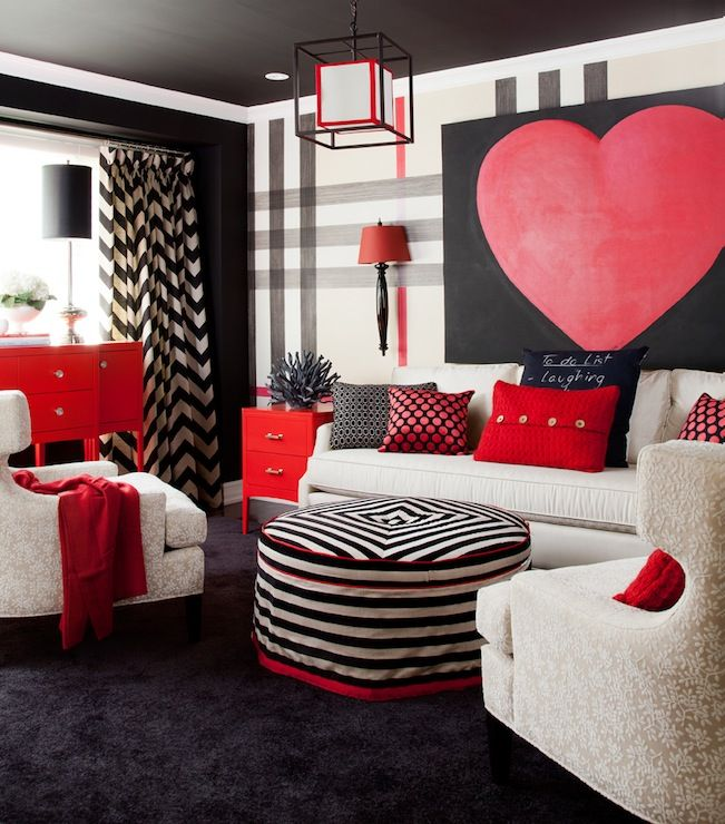 Fun Bold Living Room Design With Oversize Black White And Red Painted Plaid Wall