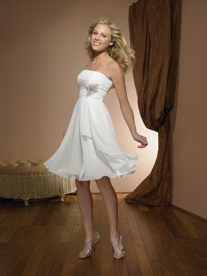 stunning short chiffon beach wedding dress