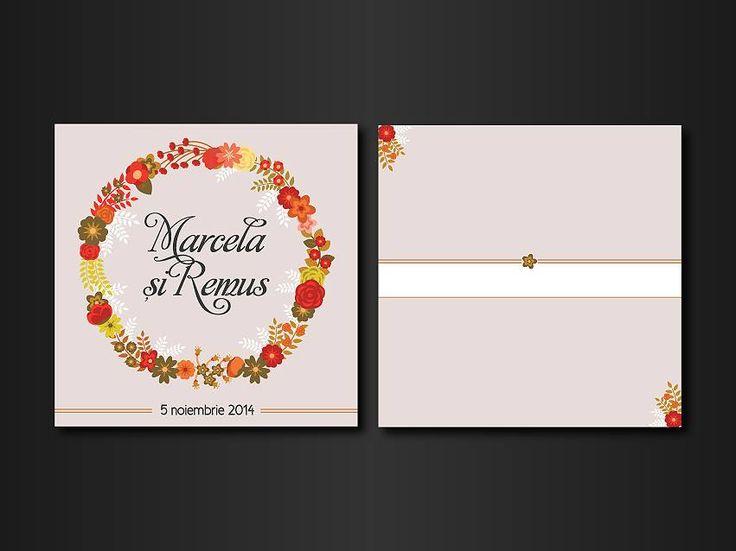 """Wedding invitations ideas/Idei invitatii de nunta originale. Invitație tip """"flori colorate"""" - faţă, verso. (dimensiune finală 15 x 15 cm)."""