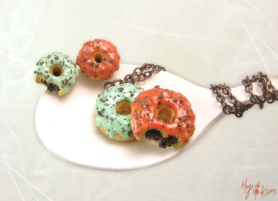 Spring Set Donuts Copper Necklace & Silver 925 Earrings - Mini Food Jewelry
