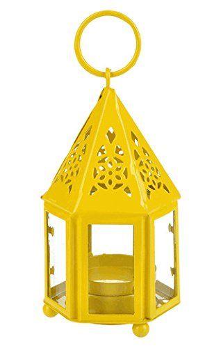 WGI Mini Hampi Hurricane Candle Lantern, Yellow Novelty