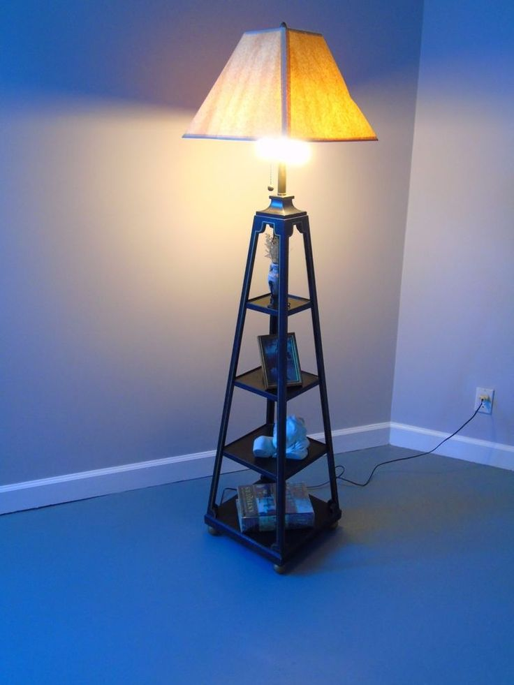 Vintage Etagere Floor Lamp with Shelves Home Sweet Home Decorator Lamp #Etagere