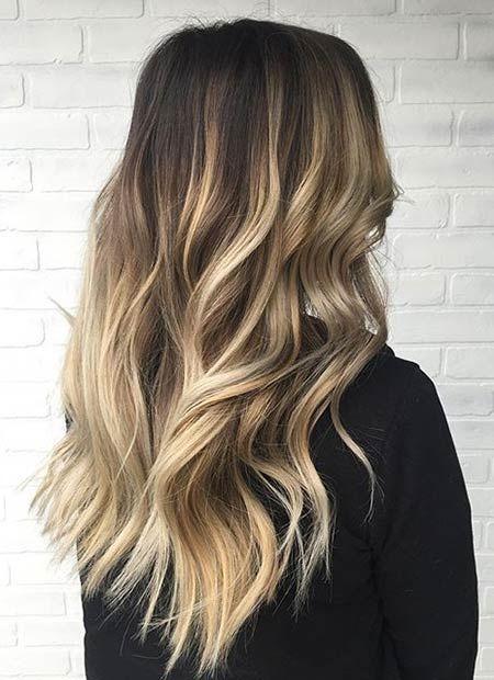 Blonde Balayage Highlights on Dark Hair