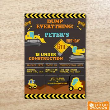 free printable construction party invitations - Google Search